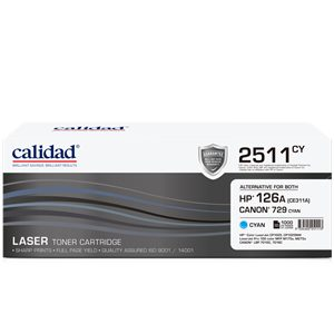 Calidad 2511-CY Cyan Toner alternative for HP 126A Cyan (CE311A); CANON CART 329C