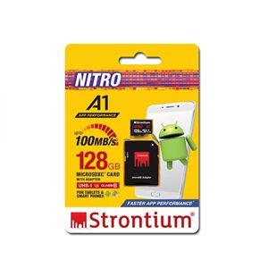 Strontium 128GB NITRO Micro SDXC A1 UHS-I (U3) Card with Adaptor