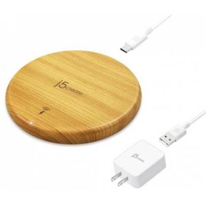 J5create coil wireless charging pad with Wood finish