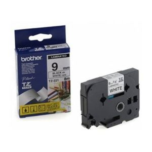 BROTHER 9MM BLACK ON WHITE LAMINATED TAPE - 8M