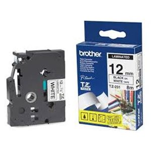 BROTHER LAMINATED TAPE (8M X 12MM) BLACK ON WHITE