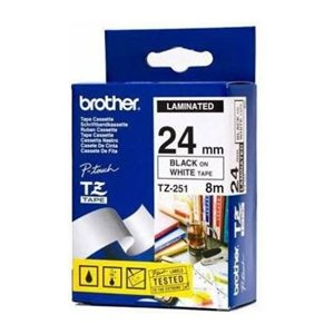 BROTHER 24MM BLACK ON WHITE LAMINATED TAPE - 8M