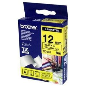 BROTHER 12MM BLACK ON YELLOW LAMINATED TAPE - 8M