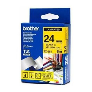 BROTHER 24MM BLACK ON YELLOW LAMINATED TAPE - 8M
